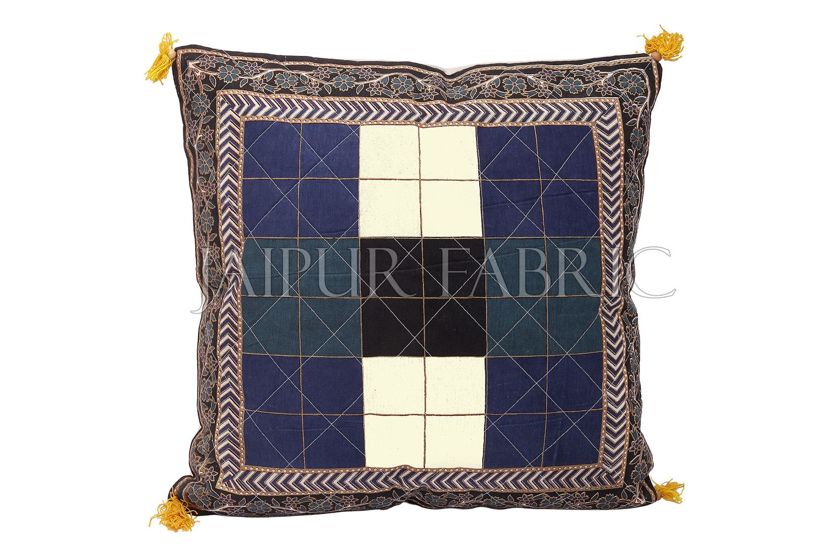 Black border Checkered Design Cotton Cushion Cover