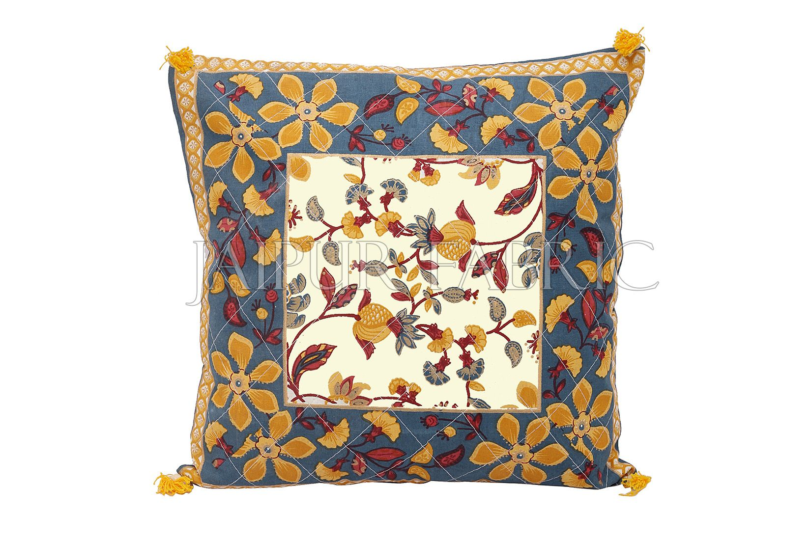 Gray Base Floral Print Cotton Cushion Cover