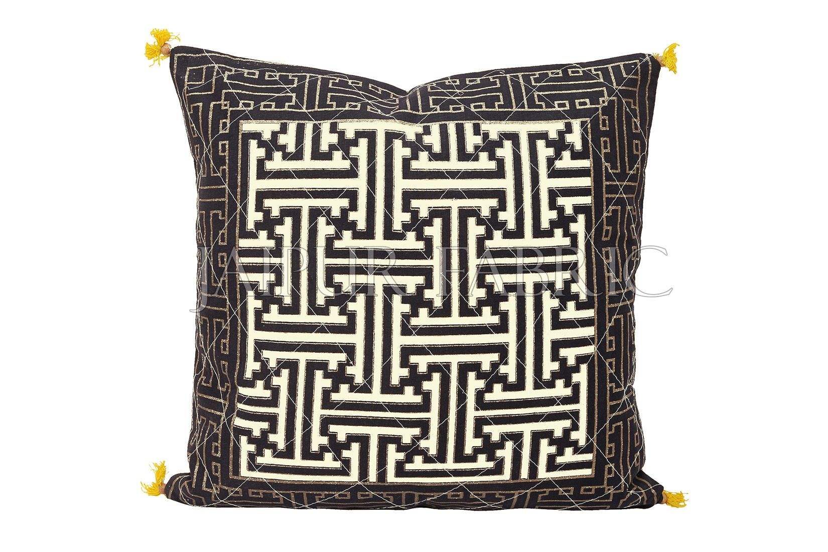 Cream Base Black Border Maze Design Cotton Cushion Cover
