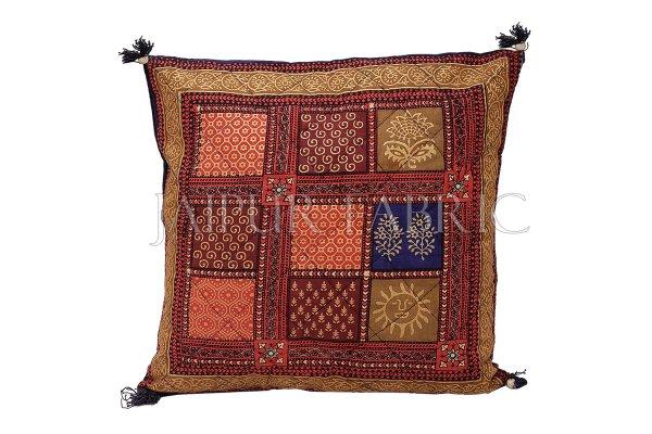 Multi Color Golden Block Print Cotton Cushion cover