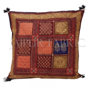 Multi Color Golden Block Print Cotton Cushion cover