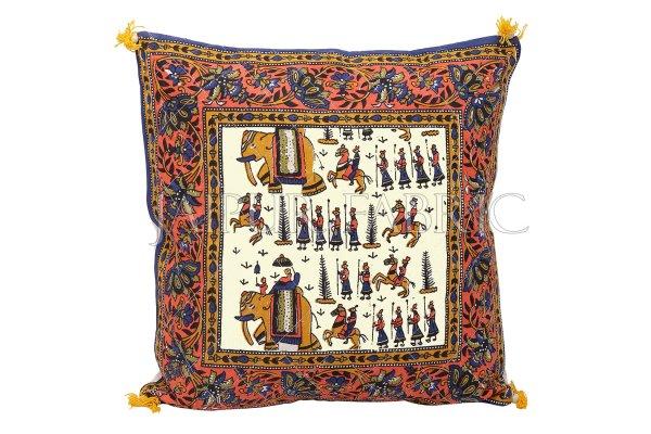 Cream Base Orange Border Rajasthani Barat Print Cotton Cushion cover