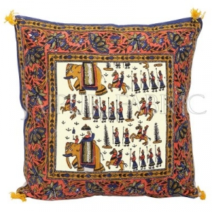 Cream Base Orange Border Rajasthani Barat Print Cotton Cushion cover