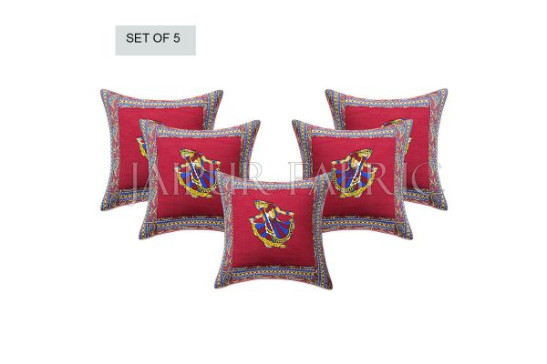 Maroon Gujri Dance Design Patchwork & Applique Cushion Cover