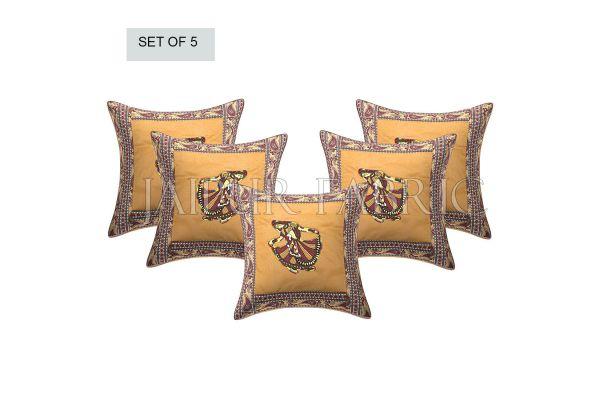 Brown Gujri Dance Design Patcgwork & Applique Cushion Cover