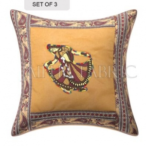 Brown Gujri Dance Design Patcgwork & Applique Cushion Cover