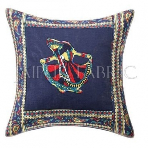 Blue Gujri Dance Design Patchwork & Applique Cushion Cover
