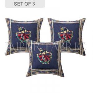 Blue Gujri Dance Design Patchwork & Applique Cushion Cover