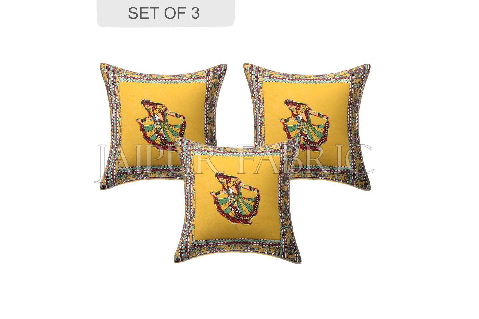 New Mustard Gujri Dance Design Patchwork & Applique Cushion Cover