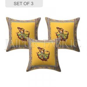 New Mustard Gujri Dance Design Patchwork & Applique Cushion Cover