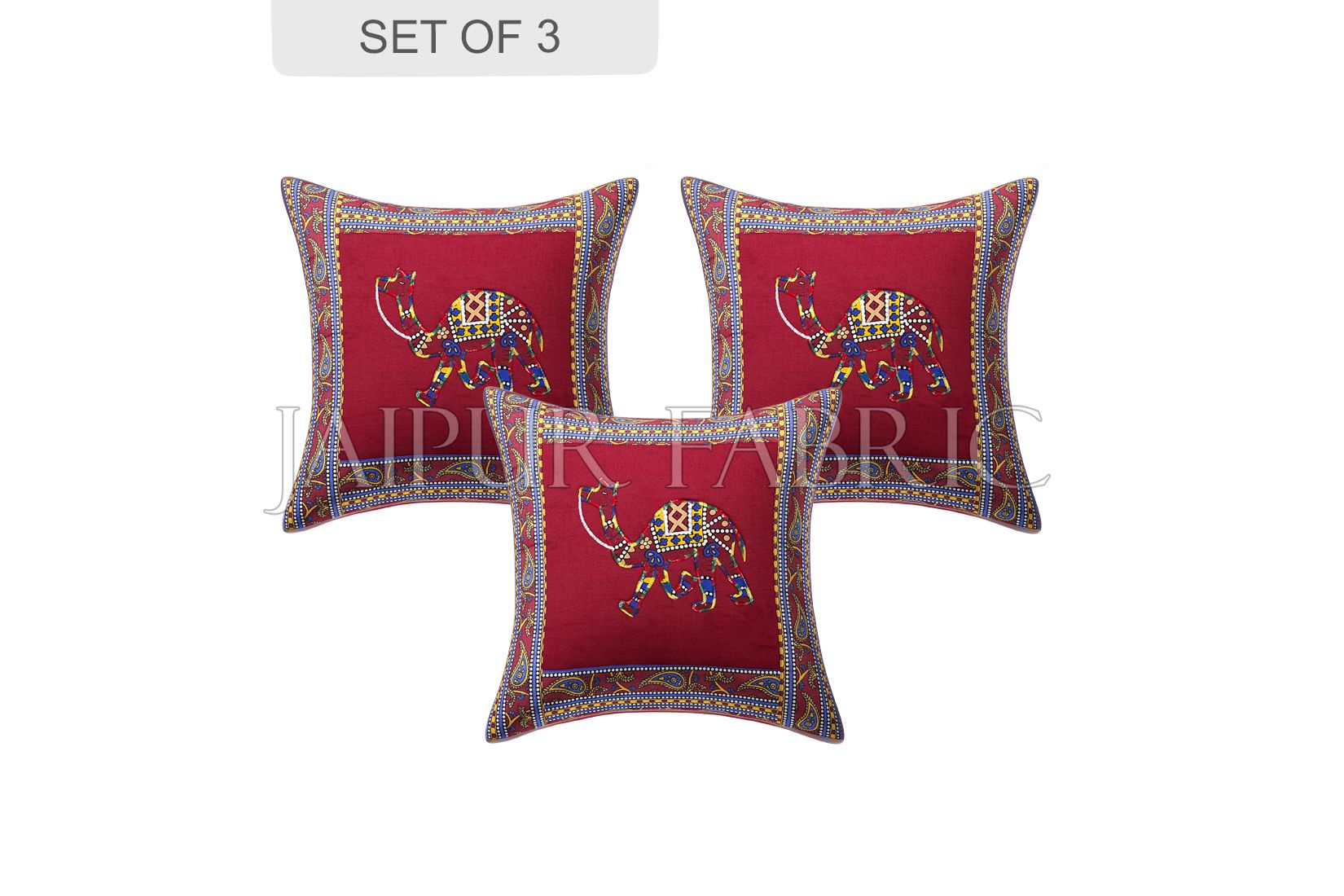Maroon Camel Design Patchwork & Applique Cushion Cover