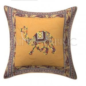 Brown Camel Design Patchwork & Applique Cushion Cover