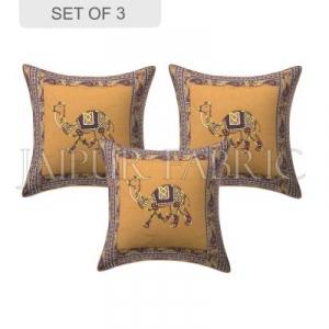 Brown Camel Design Patchwork & Applique Cushion Cover