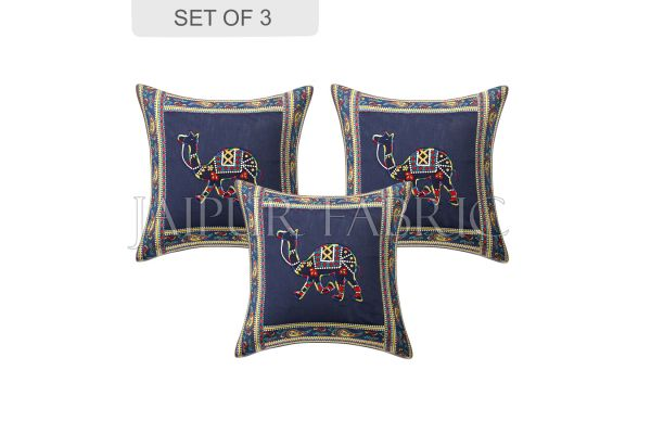 Blue Camel Design Patchwork & Applique Cushion Cover