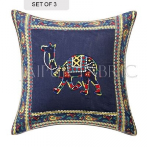 Blue Camel Design Patchwork & Applique Cushion Cover