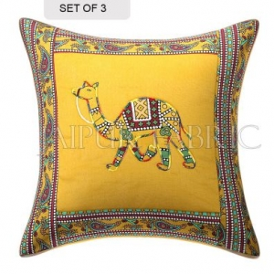 New Mustard Camel Design Patchwork & Applique Cushion Cover