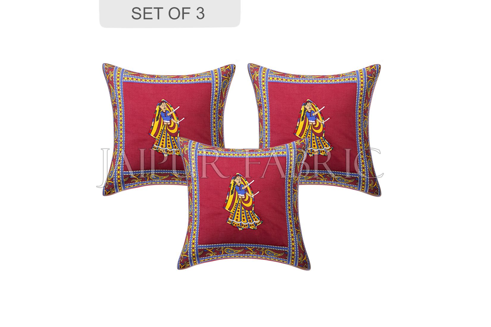 Maroon Dance Design Patchwork & Applique Cushion Cover