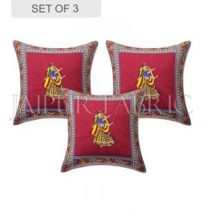 Maroon Dance Design Patchwork & Applique Cushion Cover