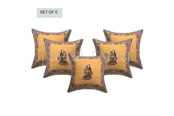 Brown Dance Design Patchwork & Applique Cushion Cover