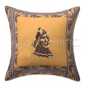 Brown Dance Design Patchwork & Applique Cushion Cover