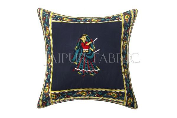 Blue Dance Design Patchwork & Applique Cushion Cover