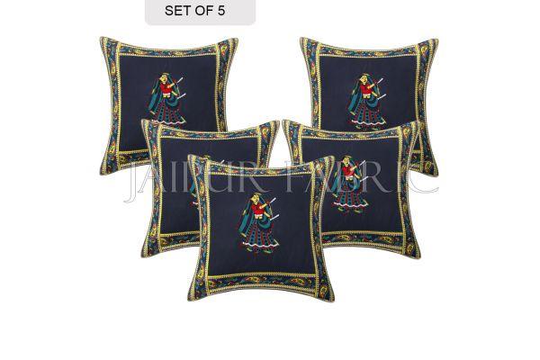 Blue Dance Design Patchwork & Applique Cushion Cover