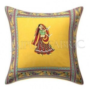 New Mustard Dance Design Patchwork & Applique Cushion Cover