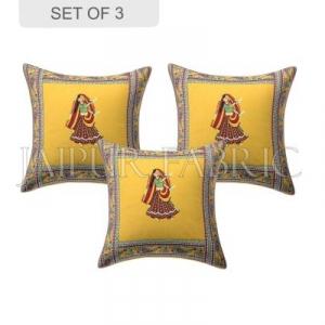 New Mustard Dance Design Patchwork & Applique Cushion Cover