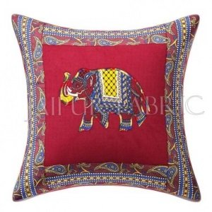 Maroon Elephant Design Patchwork & Applique Cushion Cover