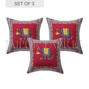 Maroon Elephant Design Patchwork & Applique Cushion Cover
