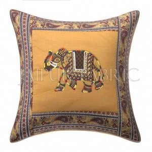 Brown Elephant Design Patchwork & Applique Cushion Cover