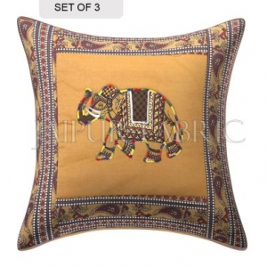 Brown Elephant Design Patchwork & Applique Cushion Cover