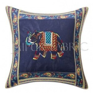 Blue Elephant Design Patchwork & Applique Cushion Cover