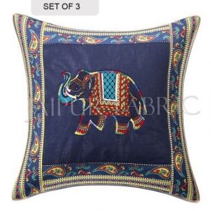 Blue Elephant Design Patchwork & Applique Cushion Cover