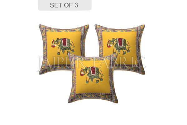 New Mustard Elephant Design Patchwork & Applique Cushion Cover