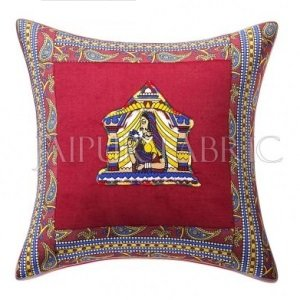 Maroon Doli Design Patchwork & Applique Cushion Cover