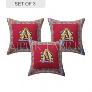 Maroon Doli Design Patchwork & Applique Cushion Cover