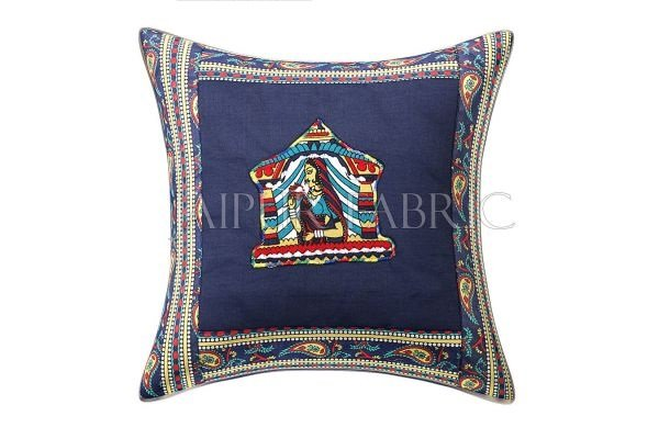 Blue Doli Design Patchwork & Applique Cushion Cover