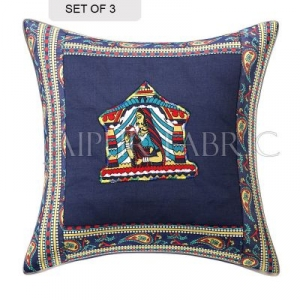 Blue Doli Design Patchwork & Applique Cushion Cover