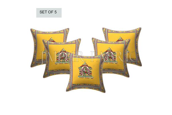 New Mustard Doli Design Patchwork & Applique Cushion Cover