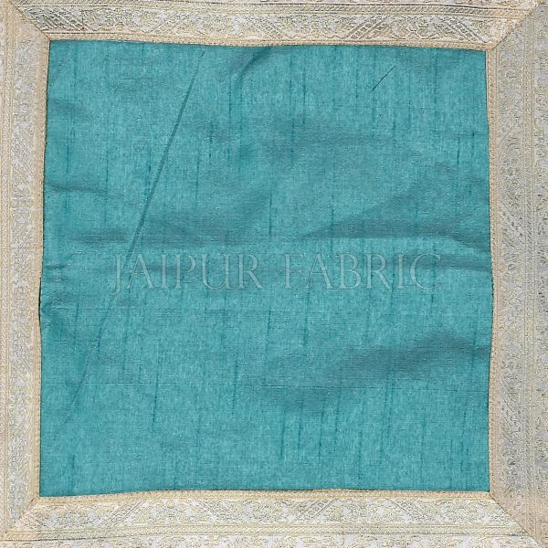Sky Blue Base White Gota Work Border Cotton Satin Silk Cushion Cover