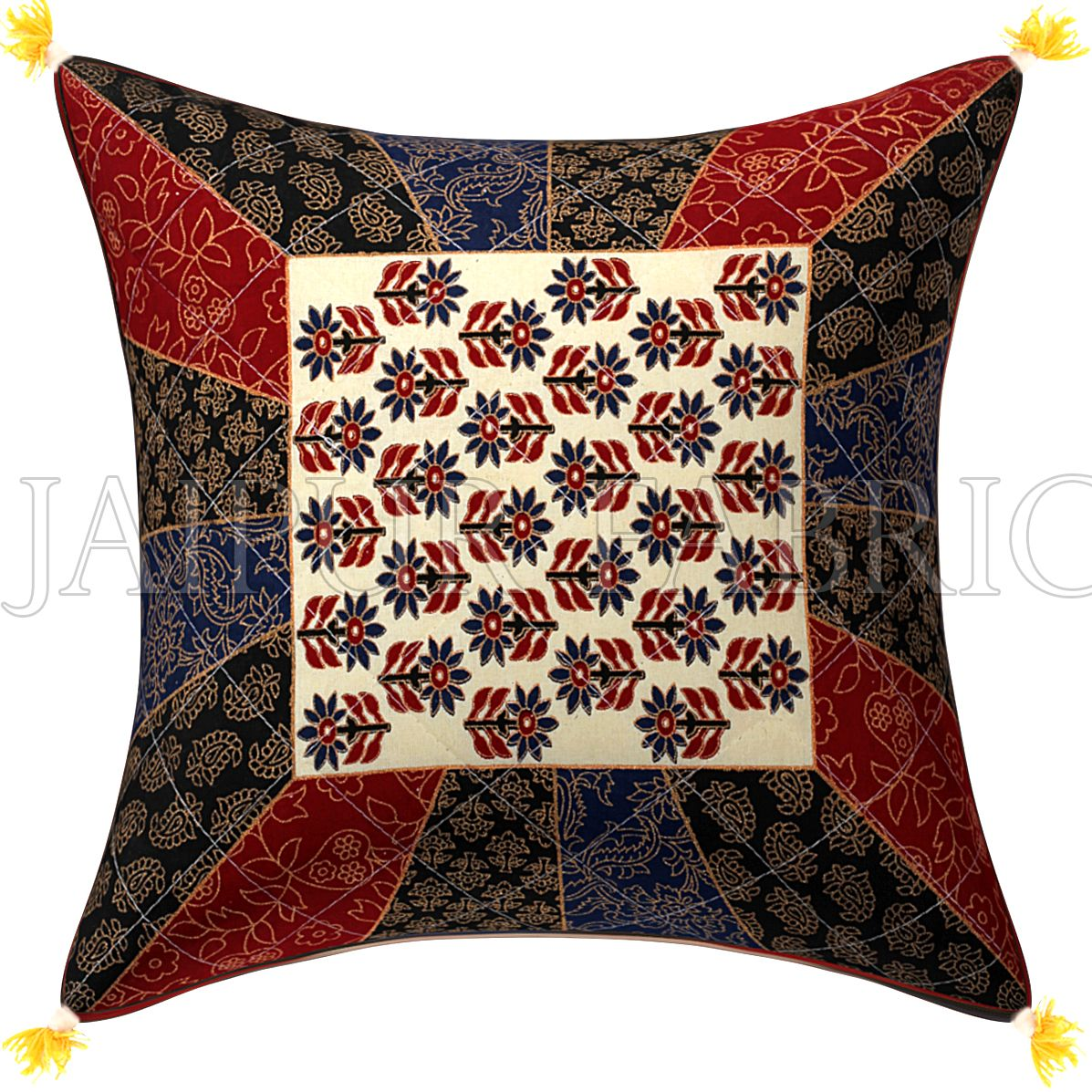 Golden Print Multi Colour Central Square Floral Print Cushion Cover