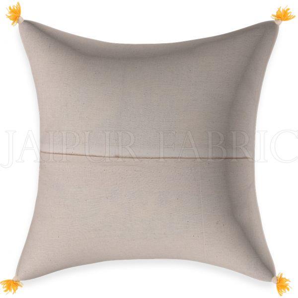 Cream Base Golden Leaves Brown Border   Cotton  Cushion Cover