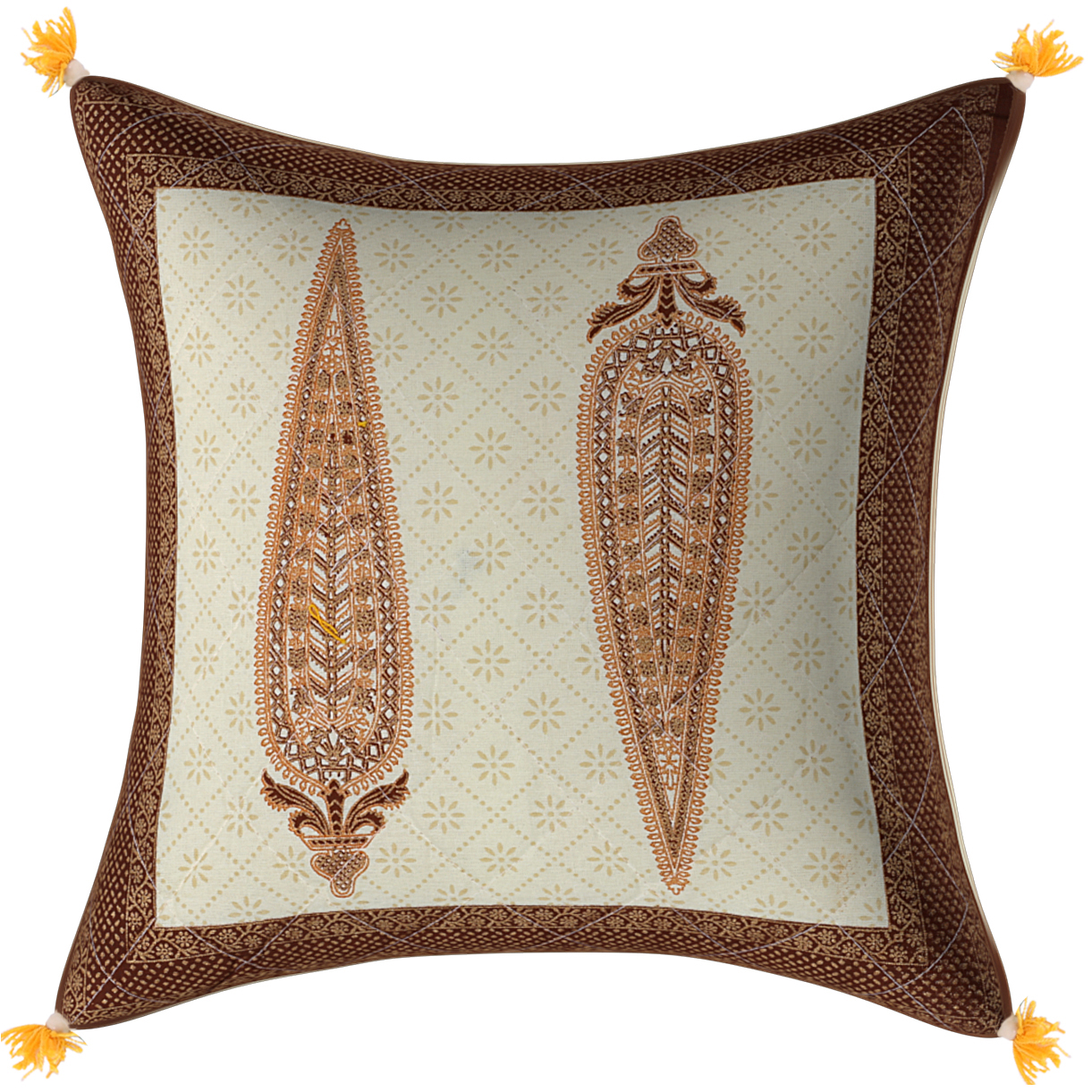Cream Base Golden Leaves Brown Border   Cotton  Cushion Cover