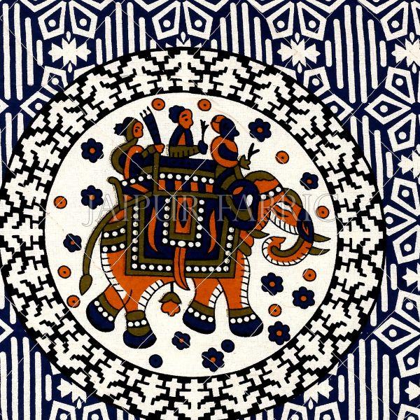 Navy Blue Base  Elephant Print Cotton Cushion Cover
