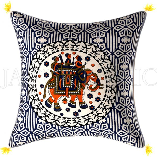 Navy Blue Base  Elephant Print Cotton Cushion Cover