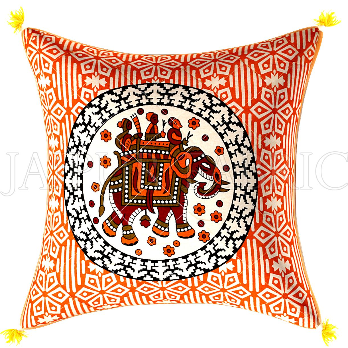 Yellow Cream Base Elephant  Print  Cotton Cushion Cover