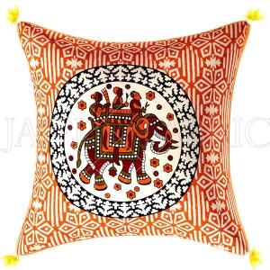 Yellow Cream Base Elephant  Print  Cotton Cushion Cover