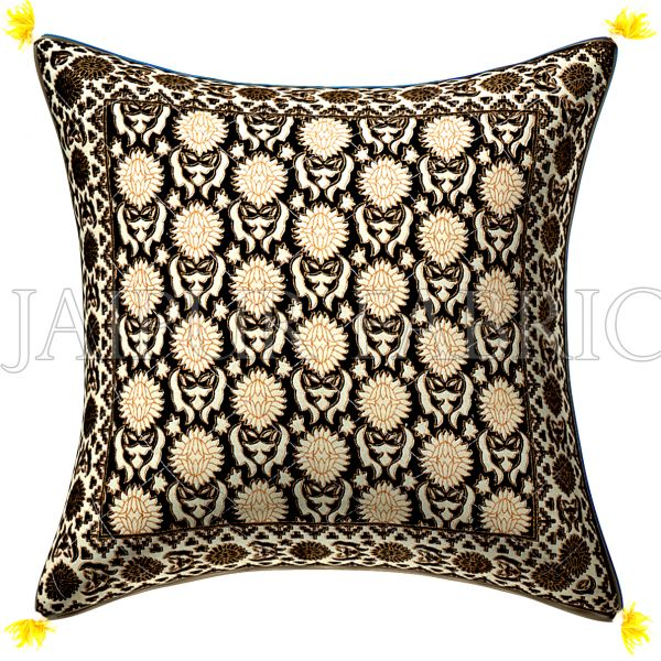 Black Base Cream Flower With Golden Print  Cotton Cushion Cover