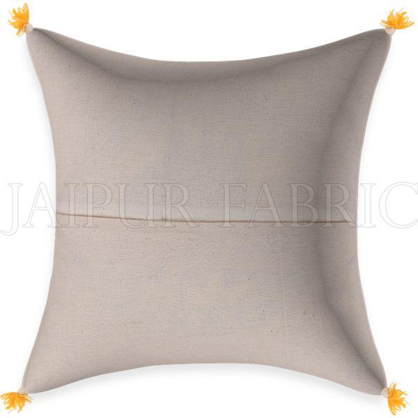 Golden Blue Firozi Floral Print Cream base Cotton Cushion Cover
